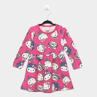 Vestido Infantil Hello Kitty Manga Longa