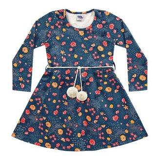 Vestido Infantil Kiko & Kika Molecotton Com Cinto Pompom Manga Longa