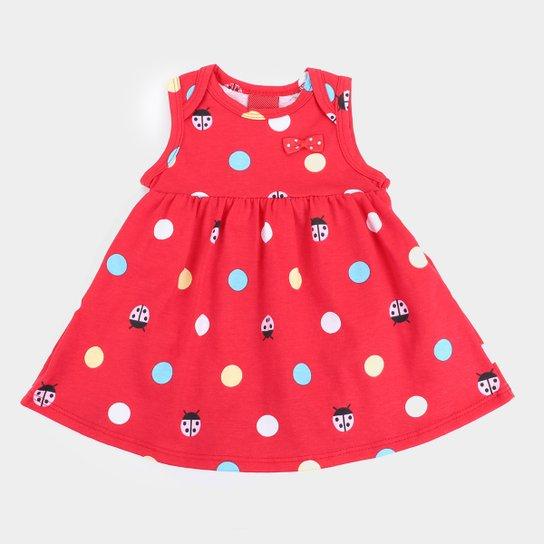 Vestido Infantil Kyly Joaninha C/ Body Interno - Vermelho