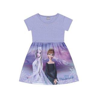 Vestido Infantil Manga Curta Frozen Disney Fakini - ROXO - 10
