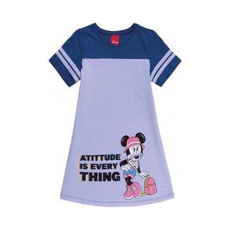 Vestido Infantil Manga Curta Minnie Glitter - CINZA - 8
