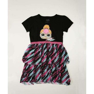 Vestido Infantil Manga Curta Tule Boneca LoL Tam 4 A 10 - 10046294388