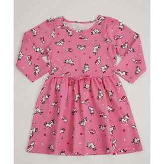 Vestido Infantil Manga Longa Estampa Unicórnio Marisa Tam 1 A 4 - 10046344472