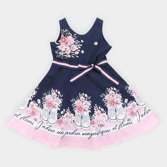 Vestido Infantil Milon Floral Laço