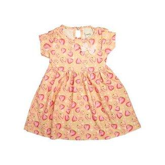 Vestido Infantil Morangos Salmão Menina