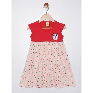 Vestido Infantil Para Menina - Bege/vermelho