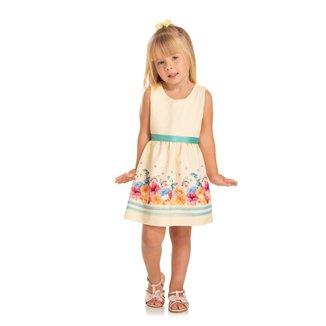 Vestido Infantil Quebra Cabeça Verão Detalhe Floral Feminino