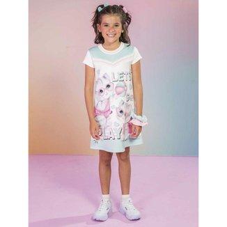 Vestido Infantil Verão em Fly Tech Gatinha e Corações Off white Tam 1 a 12 - Kukiê