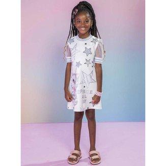 Vestido Infantil Verão em Fly Tech Trabalhado Gatinha Off white Tam 6 a 12 - Kukiê