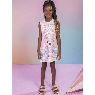 Vestido Infantil Verão em Fly Tech Ursa Rosa Tam 1 a 12 - Kukiê