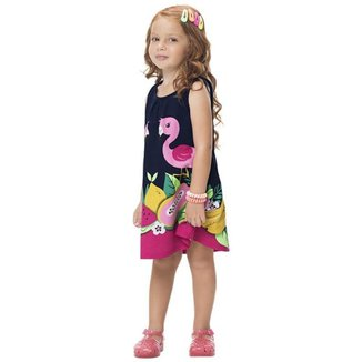 Vestido Infantil Verão, Flamingos - Kyly