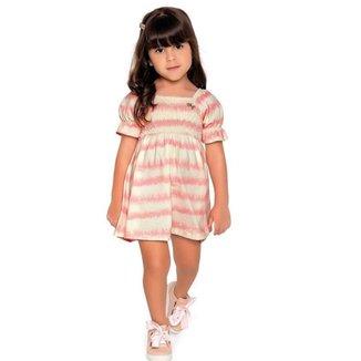 Vestido Infantil VerãoEm Cotton Flamê, Tie Dye - Fakini Playground