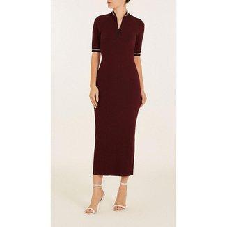 Vestido Iódice Midi Decote V Detalhe Zíper Feminino