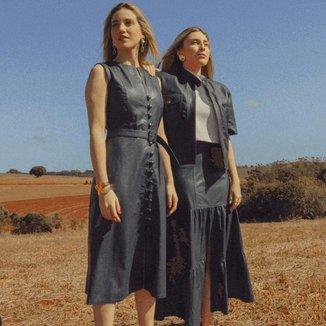 Vestido J Carrazedo Concept Azul Marinho De Couro Com Detalhes Em Botões - Helena Gonçalves