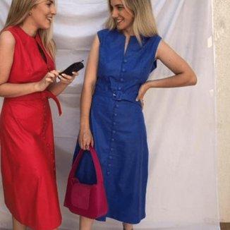 Vestido J Carrazedo Concept Azul Royal De Couro Com Detalhes Em Botões - Helena Gonçalves