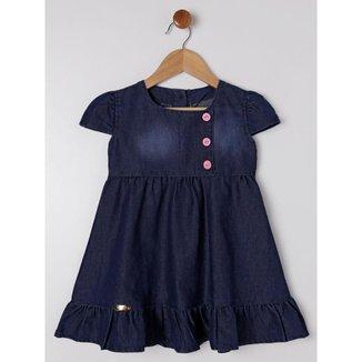 Vestido Jeans Infantil Para Menina - Azul