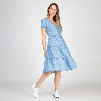 Vestido Jeans Leve 3 Marias Delavê Bloom Feminino