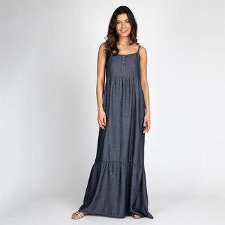 Vestido Jeans Longo Liocel Alcinha Azul