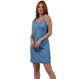 Vestido Jeans Zayon Alcinha De Amarrar Azul