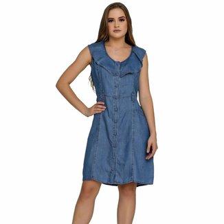 Vestido Jeans Zayon Babado Azul Claro