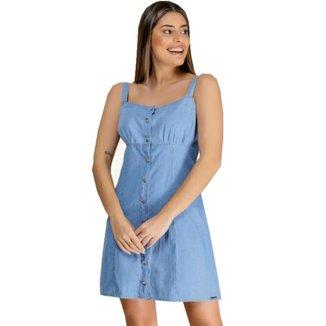 Vestido Jeans Zayon Detalhe Botão Azul