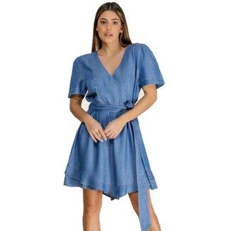 Vestido Jeans Zayon Laço Azul