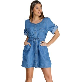Vestido Jeans Zayon Manga Detalhe Azul