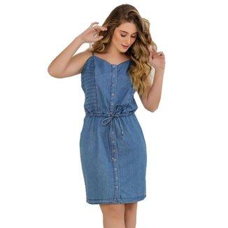 Vestido Jeans Zayon Nervuras Azul
