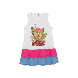 Vestido Juvenil Menina Flamingo Branco – Minitune