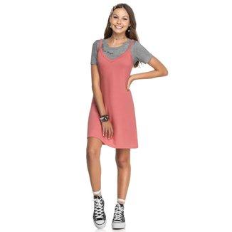 Vestido Juvenil Slip Dress com Blusa Embutida Cereja Rosa - ROSA - 18