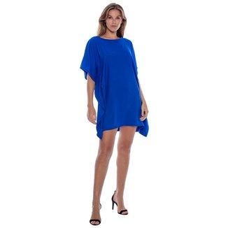 Vestido Kaftan Curto Azul Bic - Único - Veste 38 ao 48