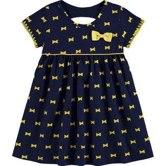 Vestido Kyly Bebe Feminino P-m-g Marinho Com Amarelo Lacos