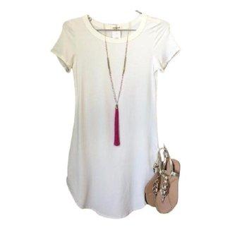 Vestido lindo manga curta, liso várias cores -  039
