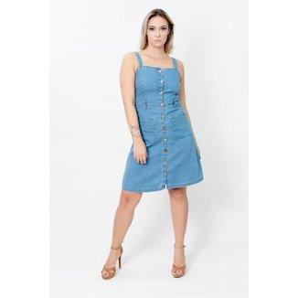 Vestido Liso Curto Jeans com Alça Larga