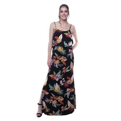 Vestido Longo Alça Flores Pop Me Feminino - Feminino