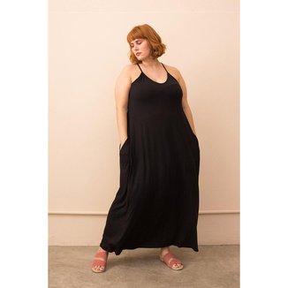 Vestido Longo com Alças Finas Plus Size