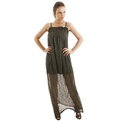 Vestido Longo Com Alcinha Fluído e Babadinhos No Busto AHA Feminino - Feminino