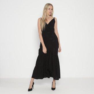 Vestido Longo Com Bordados Operate Feminino