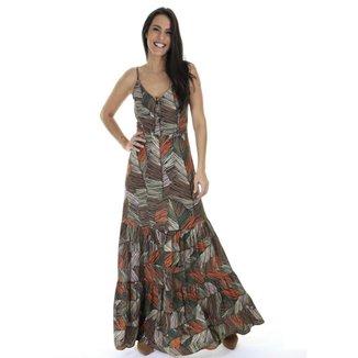 Vestido longo estampado AHA
