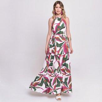 Vestido Longo Estampado Folhagens Rosa/Verde