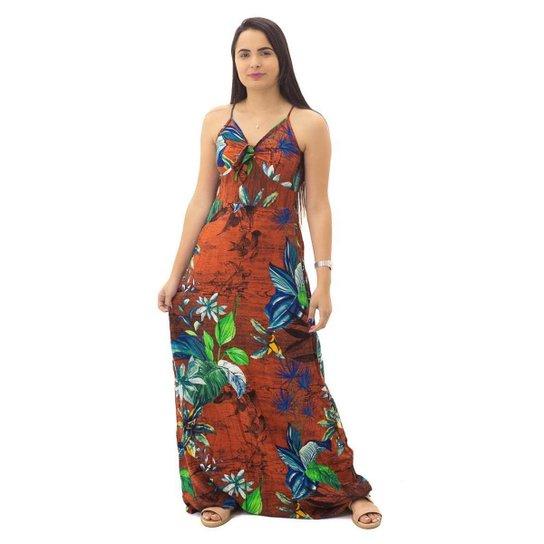 Vestido Longo Floral Feminino Eagle Rock Vermelho - Vermelho Escuro