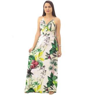 Vestido Longo Floral Feminino Eangle Rock Branco