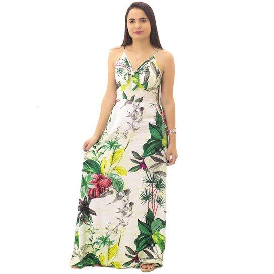 Vestido Longo Floral Feminino Eangle Rock Branco - Branco