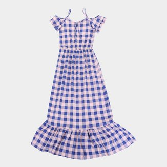 Vestido Longo Infantil Costão Xadrez Feminina