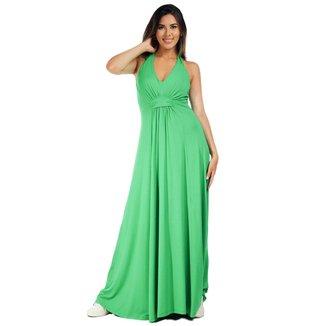 Vestido Longo Malha Frente Única Verde Light - G - Veste do 44 ao 46