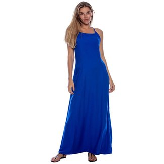 Vestido Longo Viscose com Bolso Azul Bic - G - Veste do 44 ao 46