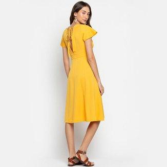Vestido Lycra Botões Amarelo LA LIMA