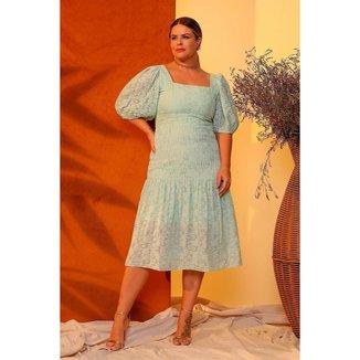 Vestido Midi Almaria Plus Size Lemon Decote Quadrado