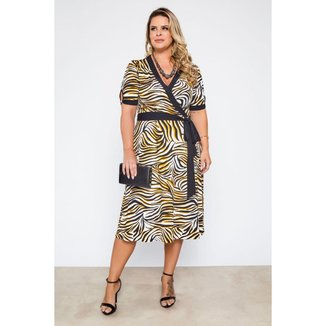 Vestido Midi Almaria Plus Size Lilian Plus Animal Print