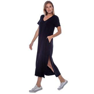 Vestido Midi com Bolso Preto - Único - Veste 38 ao 48